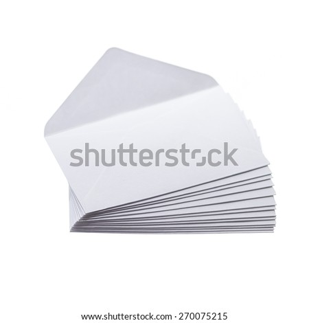 Stack of envelops isolated on white background - stock photo