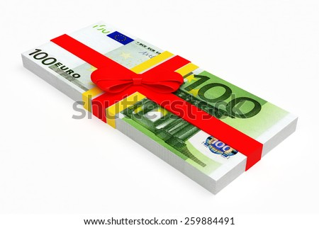 Stack of euro banknotes with red ribbon isolated on white background. Money prize concept - stock photo
