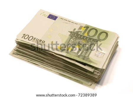 Stack of 100 Euro bills. Isolated on white. - stock photo