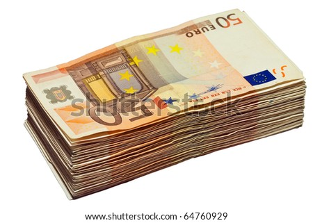 Stack of 50 euro bills, isolated on white background, (clipping path included) - stock photo