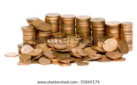 stack of Euro cent coins isolated on white