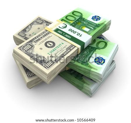 Stack of 100 Eurodollar abstract bills - stock photo