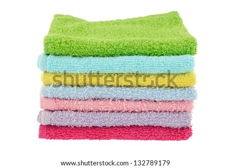 Stack of face cloths - stock photo