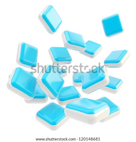 Stack of falling cube application symbolic blue glossy plates isolated on white background - stock photo