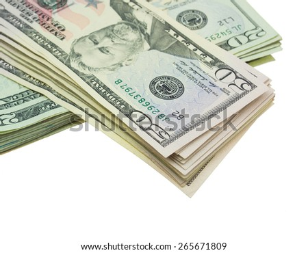 Stack of Fifty dollar bills isolated on white - stock photo