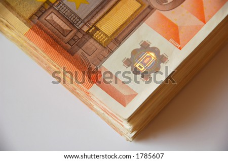stack of fifty euro bills - stock photo