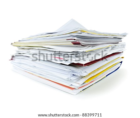 Stack of file folders with papers on white background - stock photo