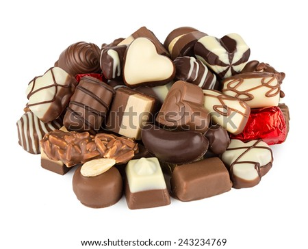stack of fine chocolate pralines - stock photo