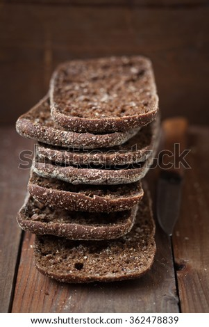 Stack of finnish rye bread,shallow depth of field - stock photo