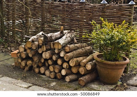Stack of firewood in garden at fence. - stock photo