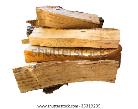 stack of firewood  logs for the stove isolated over white background - stock photo