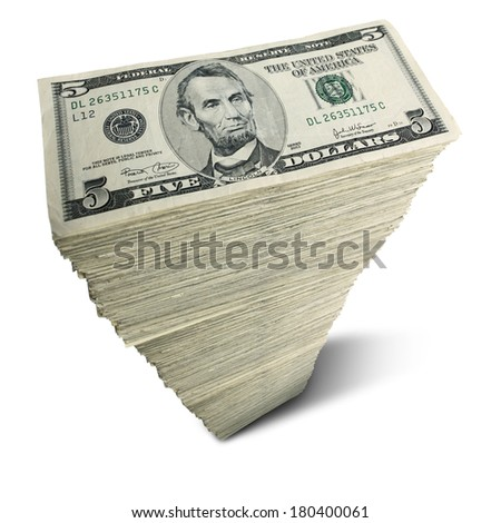 Stack of five-dollar bills on white background - stock photo