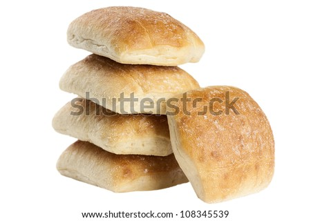 Stack of five freshly baked ciabatta bread isolated on white background. Great for panini sandwich or breakfast. - stock photo