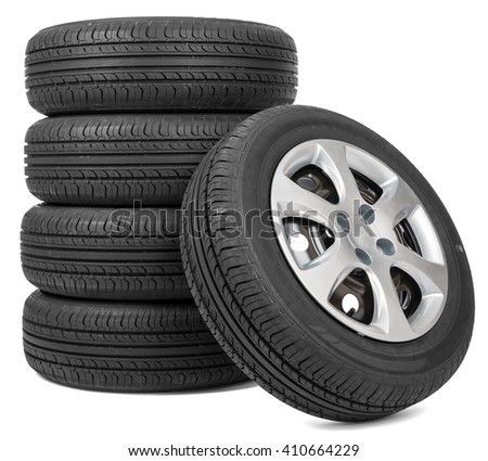 Stack of five wheels. Isolated white background - stock photo