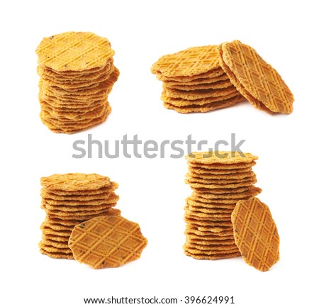 Stack of flat cookies isolated