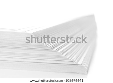 stack of flyers on white background - stock photo