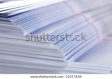 stack of flyers, selective focus