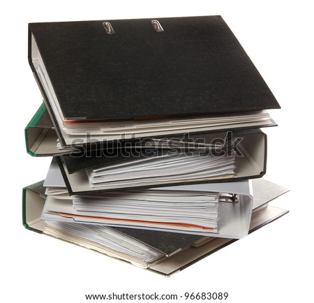 stack of folders as symbol for lot of work - stock photo