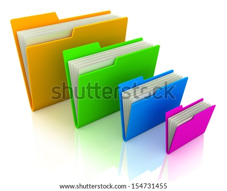 Stack of folders of different colors.
