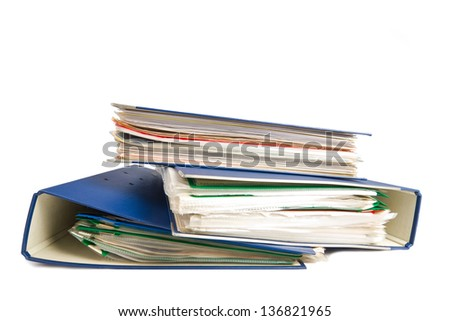 Stack of folders. Pile with old documents and bills. Isolated on white background