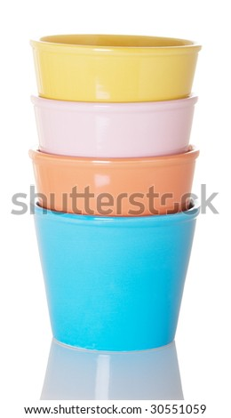 Stack of four colorful flower pots