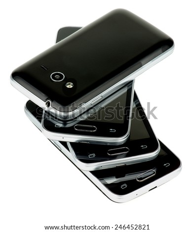 Stack of Four Contemporary Black and Silver Smartphones isolated on white background - stock photo