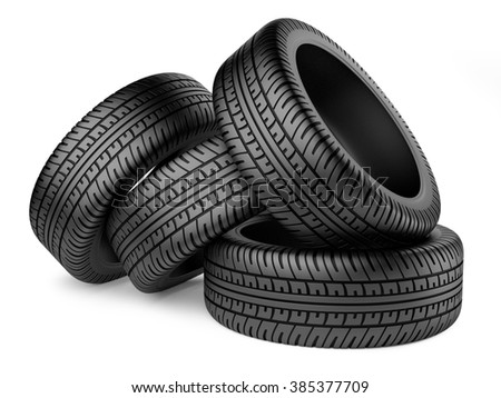 Stack of four new black wheel tyres for car. Isolated on white background 3d image