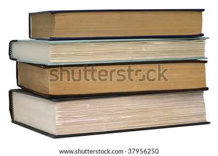 Stack of four old books isolated on white background. Save with clipping path - stock photo