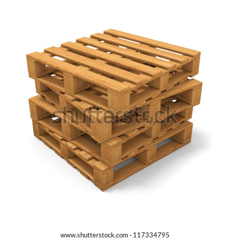 Stack of four wooden pallets. Isolated on white. - stock photo