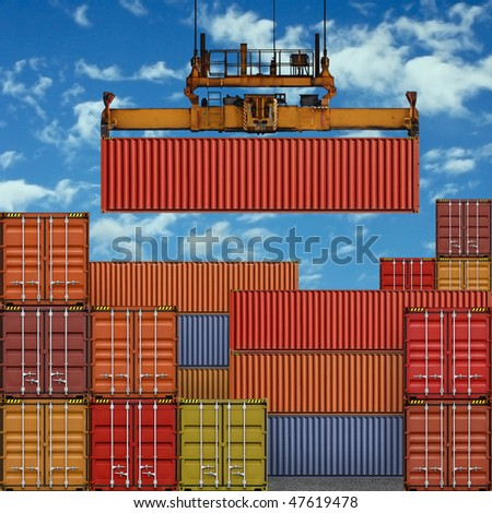 Stack of Freight Containers at the Docks with Crane - stock photo
