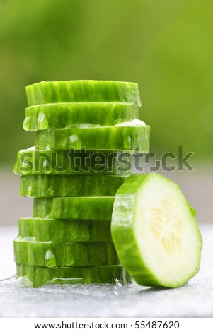 Stack of fresh organic green cucumber slices