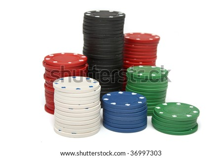 Stack of gambling chips over white background