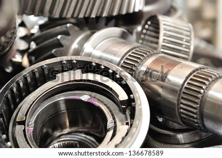 Stack of  gearbox parts. - stock photo