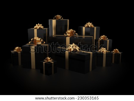 Stack of gift boxes on black isolated with clipping path - stock photo