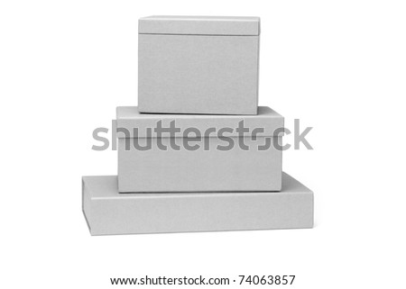 Stack of gift boxes on white background - stock photo