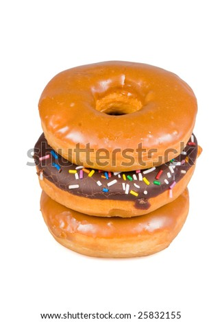 Stack of glazed donuts on a white background