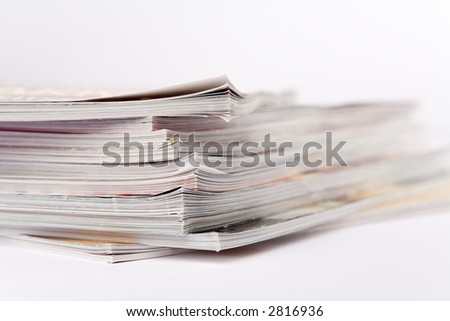 Stack of glossy periodical magazines