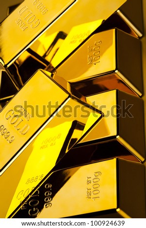 Stack of gold bars - stock photo