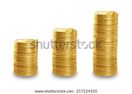 Stack of Gold Coins isolated on white background  - stock photo