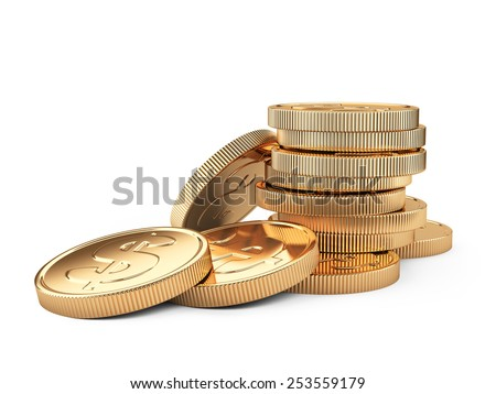 Stack of gold coins isolated on white. 3d illustration high resolution - stock photo