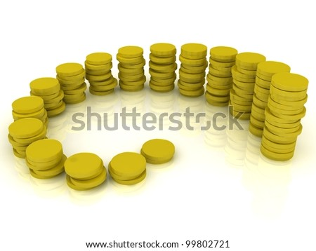 Stack of gold coins on a white background