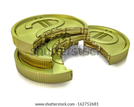 Stack of gold coins partially spoiled / Gold coins crash - stock photo