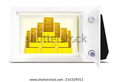 Stack of gold ingots in bank vault isolate on white background with clipping path - stock photo