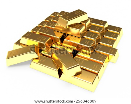 Stack of golden bars isolated on white background - stock photo