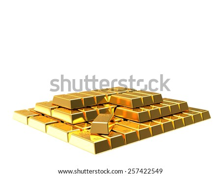 Stack of golden bars isolated on white background