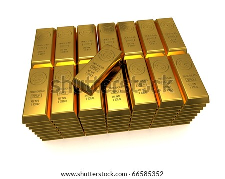 Stack of golden bars with one top 3D rendered isolated on white - stock photo