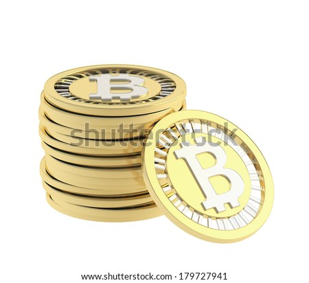 Stack of golden bitcoin peer-to-peer digital currency coins with a single coin next to it, isolated over white background - stock photo
