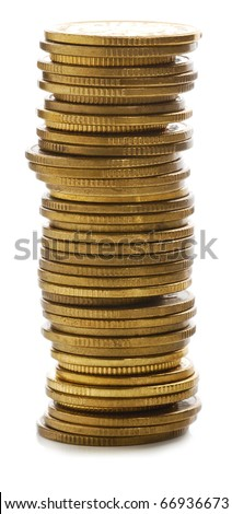 Stack of golden coins. - stock photo