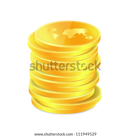 Stack of golden coins with map. Raster version