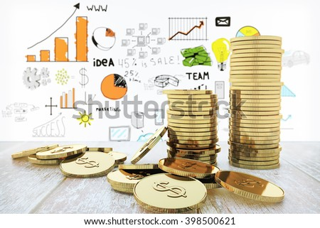 Stack of golden dollar coins on wooden desktop and business chart background. 3D Rendering - stock photo